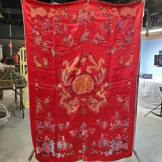 Japanese Jacquard Silk Brocade Dragon & Phoenix Table Covering