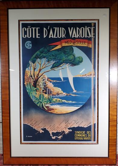 Original SNCF B. Morera French Riviera Varoise [Cote D'azur Varoise] Sea & Sun Framed Poster