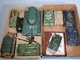Tray Lot of 10 Die Cast, Plastic and Built Out Replica Model Military Tank and other Vehicles