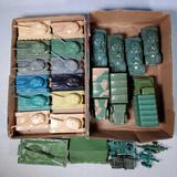 2 Flats FULL of plastic WWII Tanks, Transport and other Vehicles