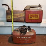 3 Vintage Gas Cans Including Evinrude Cruise A Day