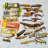 Tackle Box of Approx 35 Vintage Fishing Lures