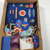 Tray Lot Of WWII Medals, Patches, Ribbons & More
