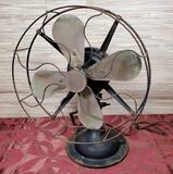 Antique Cast Iron Base Rotating Fan by Robbins & Muers