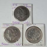 3 Morgan Silver Dollars - 1878 7TF 2nd Rev., 1879-S, 1880-O