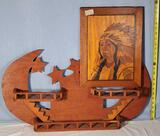 Moon and Star Knick Knack Shelf and Marquetry Native American Chief portrait
