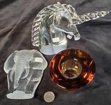 3 Pieces Art Crystal- Cartier Unicorn, Signed Elephant Orrefors Base