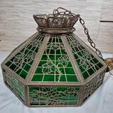 1920s Lead Frame & Stained Glass Panel Hanging Chandelier