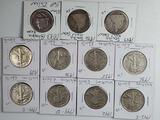13 Silver Half Dollars - Seated & Walking Liberty, Columbian Expo