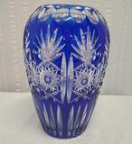 10 Inch Tall Cobalt Cut To Clear Crystal Vase