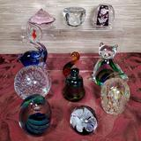 11 Art Glass Paperweights & Animal Figures