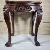 Carved Chinese Hongmu Rosewood Dragon Side Table