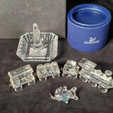 Swarovski Crystal 4 Pc Train Set, Kitten with Ball and Waterford Ring Holder