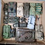 Tray Lot of 14 Die Cast, Plastic and Built Out Replica Model Military Tank and other Vehicles