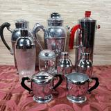 7 Collectible Cocktail Shakers & Art Deco Sugar & Creamer