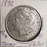 1892 Rare AU Morgan Silver Dollar