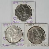 3 Higher Grade Silver Morgan Dollars - 1878 7TF 2nd Rev, 1880, 1883-O