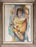 Surrealist Artist David Phillip Anderson 1929-1996 Oil on Board Portrait of a Young Woman