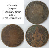 1788 New Jersey and 2 1787 Connecticut Colonial Copper Large Cents