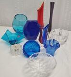 11 Pcs Of Art Glass Vases