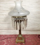 Antique Brass Base Lamp w/ Crystal Prisms and Frosted Shade