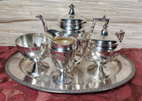 1920's Art Deco 4 Piece Silver Plate Tea Set on Tray