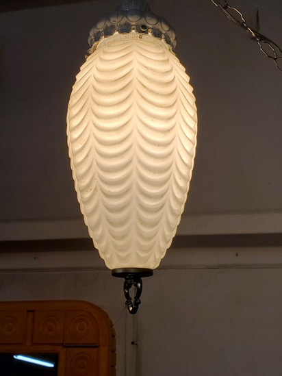 Mid Century Drape Glass Shade Swag Light