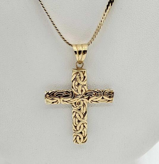 14k Atassay Kuyumculuk Gold Bysantine Reversible Cross Pendant Necklace