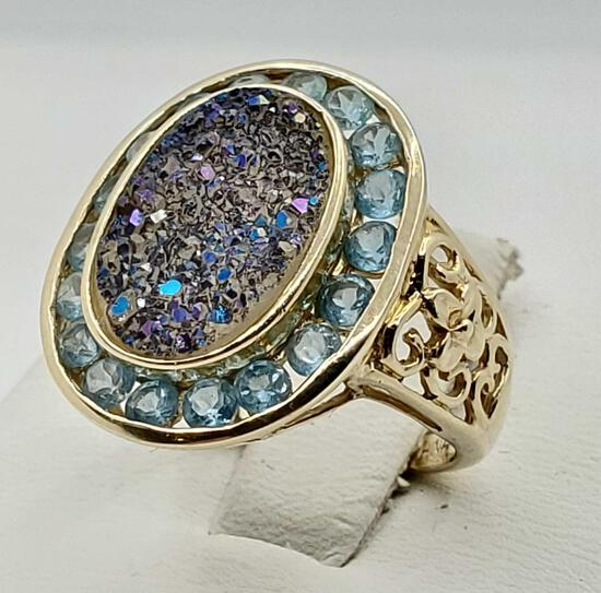 14k Gold Iridized Druze Quartz & Topaz Ring