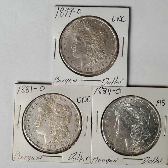 3 Morgan Silver Dollars -NM/UNC/MS 1884-O,1879-O,1881-O