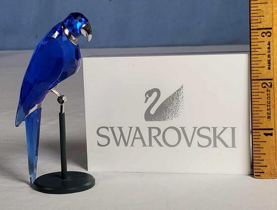 "3.5"" Swarovski Sapphire Blue Crystal Balabac Parrot on Perch"