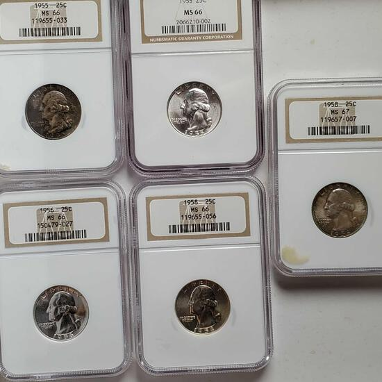 5 MS66 NGC Silver Washington Quarters