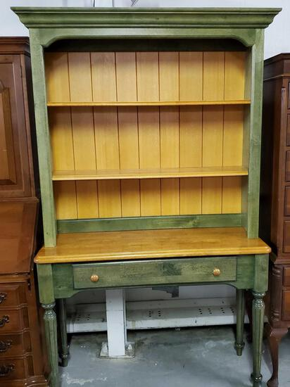 Antique Green 2 Pc Dish Cupboard Cabinet