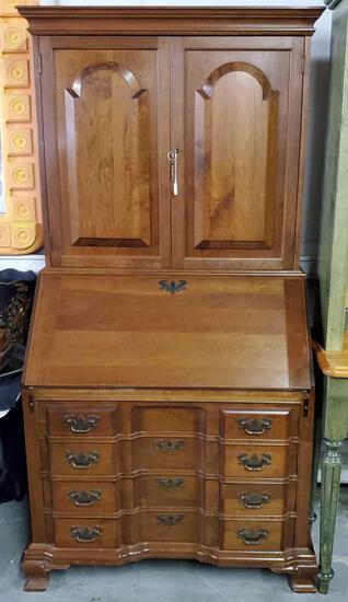 Madox Cherry Drop Front desk with 2 door bookcase top