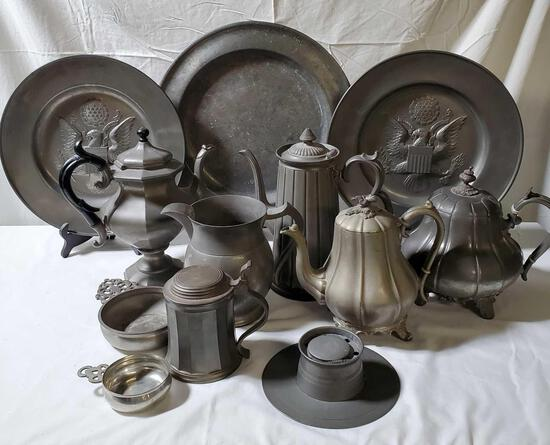 10 Pcs Of Antique Pewter & Two Silver Plate Tea Pot