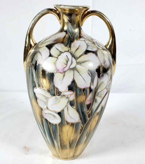 Nippon Vase with Hand Painted Daffodils