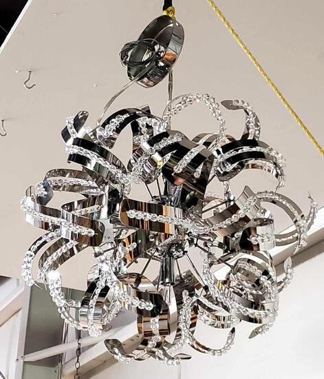 MCM Chrome and Crystal Chandelier
