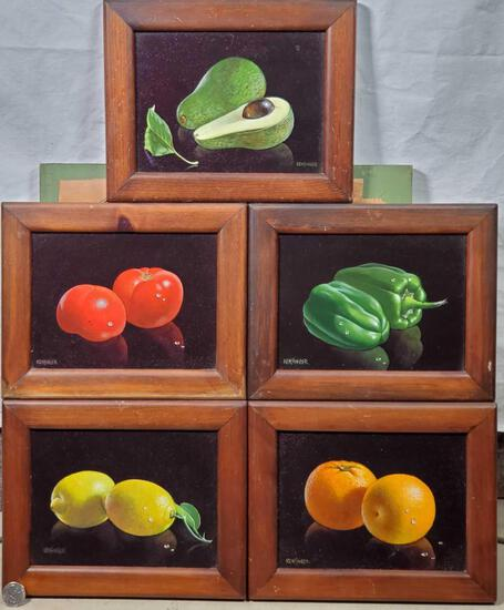5 Small Fruit Paintings by Robert Kensinger