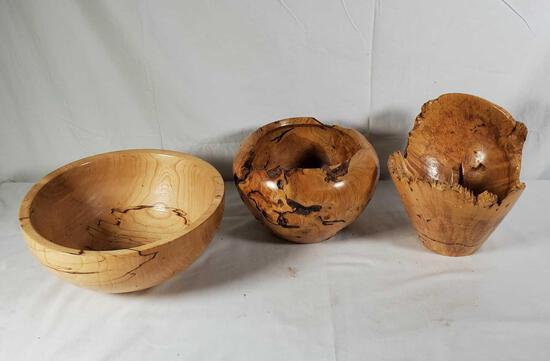 3 Artist Turned Wood Burl Vessels