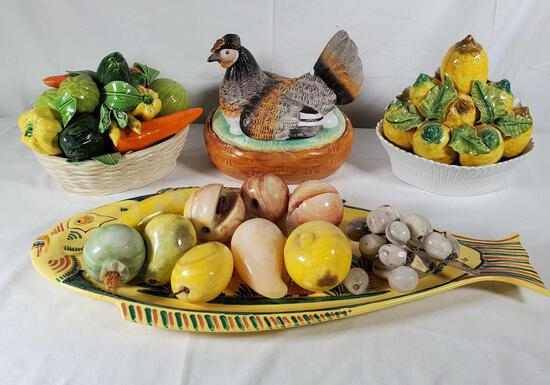 Quimper Fish Platter & 2Pcs. Italian Ceramic Fruit Baskets, Chicken on Nest & Carved Stone Fruit