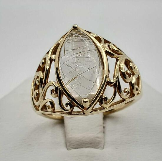 Samuel Aaron 10k Gold Rutilated Quartz Ring