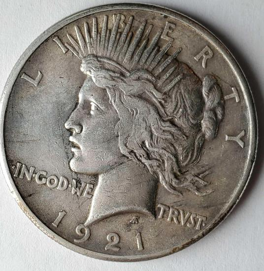 1921 Rare US Silver Peace Dollar EF/AU (First Year, high Relief)
