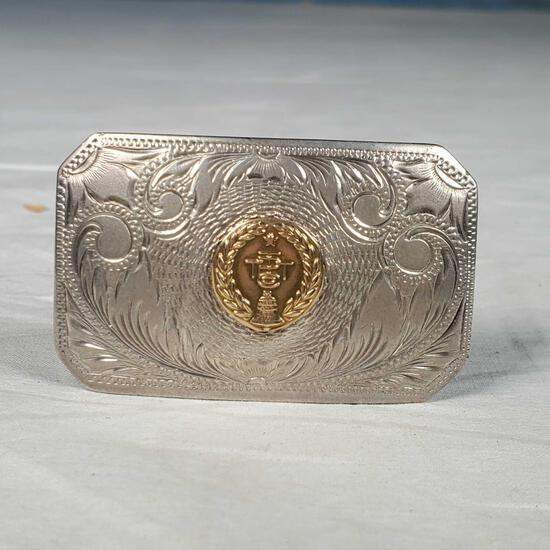 Sterling Silver and 14k Gold TPT&T Co belt buckle