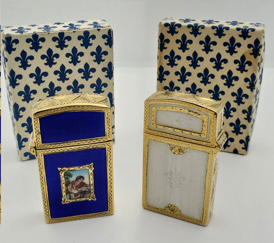 Two Vintage Italian 800 Silver Vermeil & Enameled Lighters