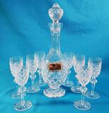 Waterford Powerscourt Crystal Decanter and 8 Sherry Glasses