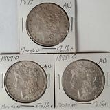 3 AU Morgan Silver Dollars - 1879, 1884-O, 1885-O