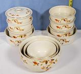 Hall Autumn Leaf Stacked Casserole, Mixing Bowl Sets, and Bakers