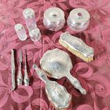 11 Pcs Sterling Silver and Crystal Dresser Vanity Set
