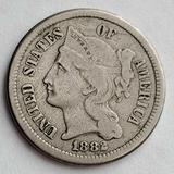 1882 Key Date Three Cent Nickel F/VF