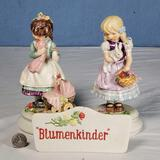 2 Limited Edition Goebel Blumenkinder Figurines and Sign